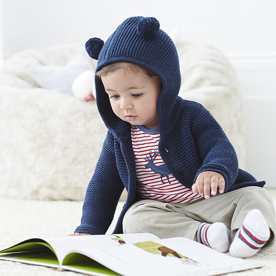 75be3238 Purl Knit Pompom Jacket - Navy | Children & Baby | The White Company US