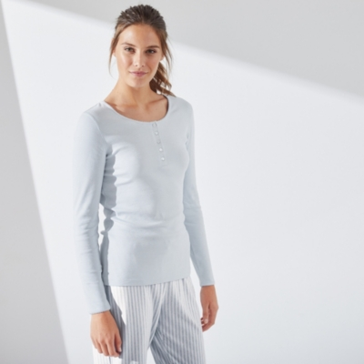 Ribbed Henley Pyjama Top - Pale Blue