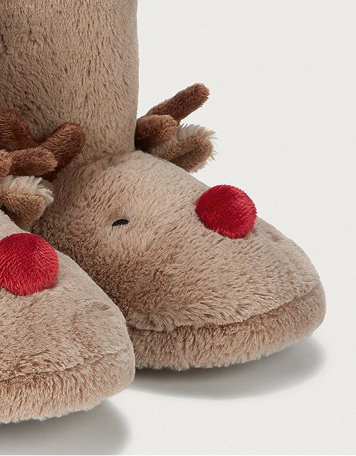 4-5yrs Brown Collection 18 Kids Slippers Reindeer