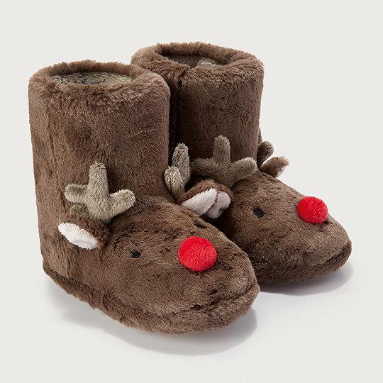 bde11baa3f35 Reindeer Novelty Slipper Boots