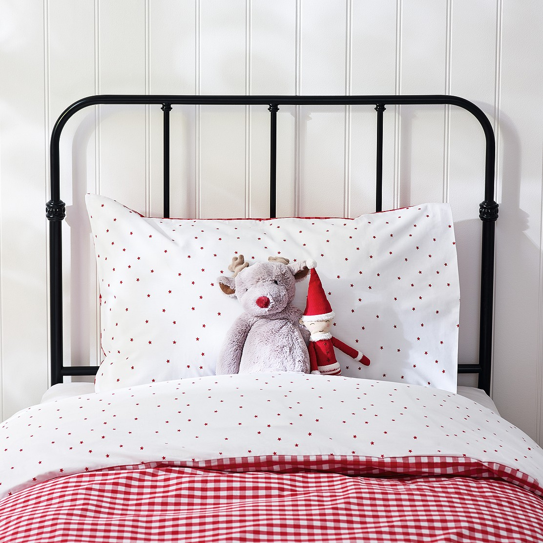 Single Duvet Cover Set Red Stars and Red Gingham