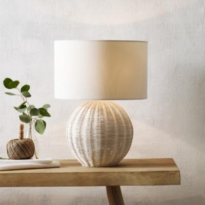 Round Rattan Table Lamp Lighting The White Company Uk