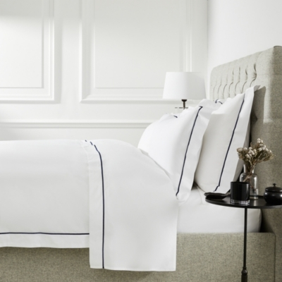 Luxury Savoy Oxford Pillowcase with Border - White Navy