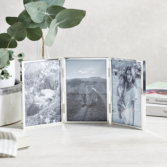 Triple Aperture Hinged Fine Silver Photo Frame 4x6 Photo Frames