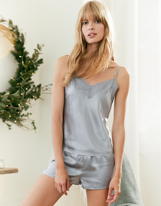 Silk Lace Trim Cami   Short Pyjama Set  233a76739
