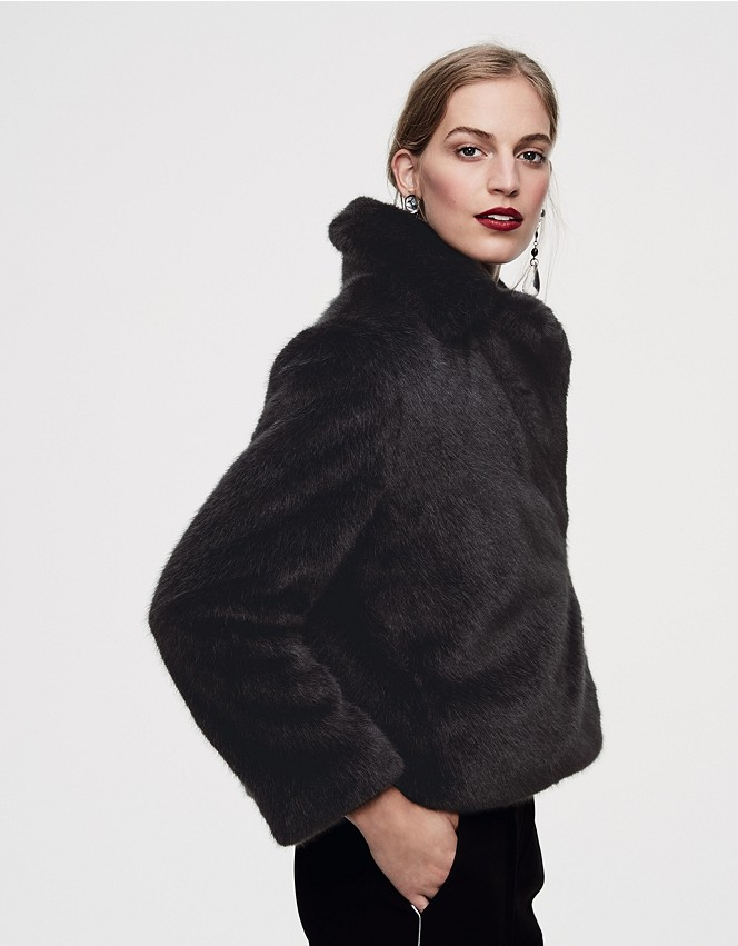 Short Revere Collar Faux Fur Jacket, Fur Coat White Company