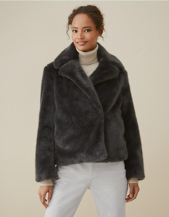 Short Revere Faux Fur Coat Clothing, Fur Coat White Company