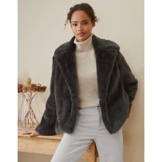 Short Revere Faux Fur Coat Clothing, Faux Fur Coat Company