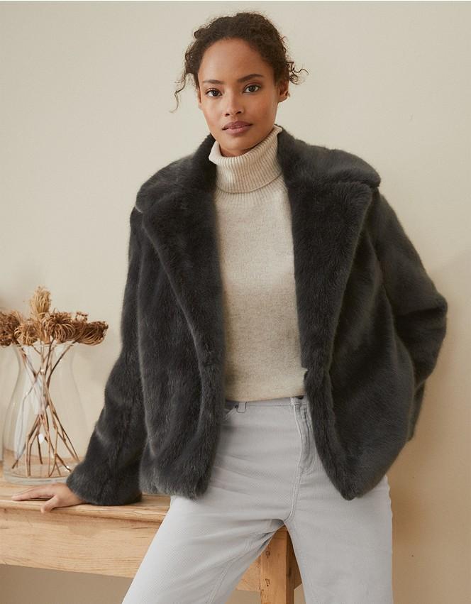 Short Revere Faux Fur Coat Clothing, Fake Fur Coats London