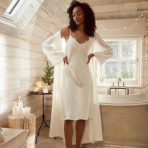 Silk Lace-Trim Nightgown