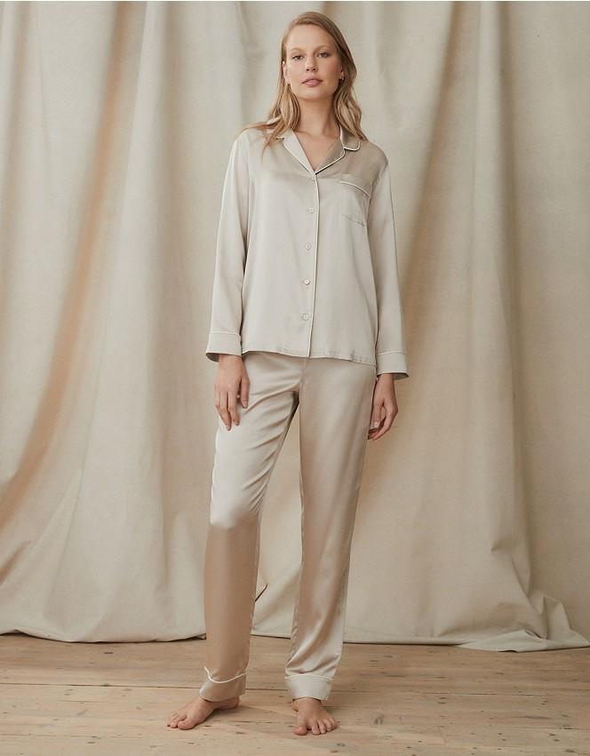 Silk Piped Pyjama Set