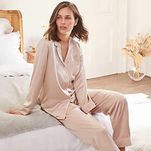 Silk Stripe-Trim Piped Pyjama Set