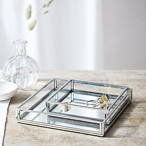 Silver Glass Tray - Set of 2