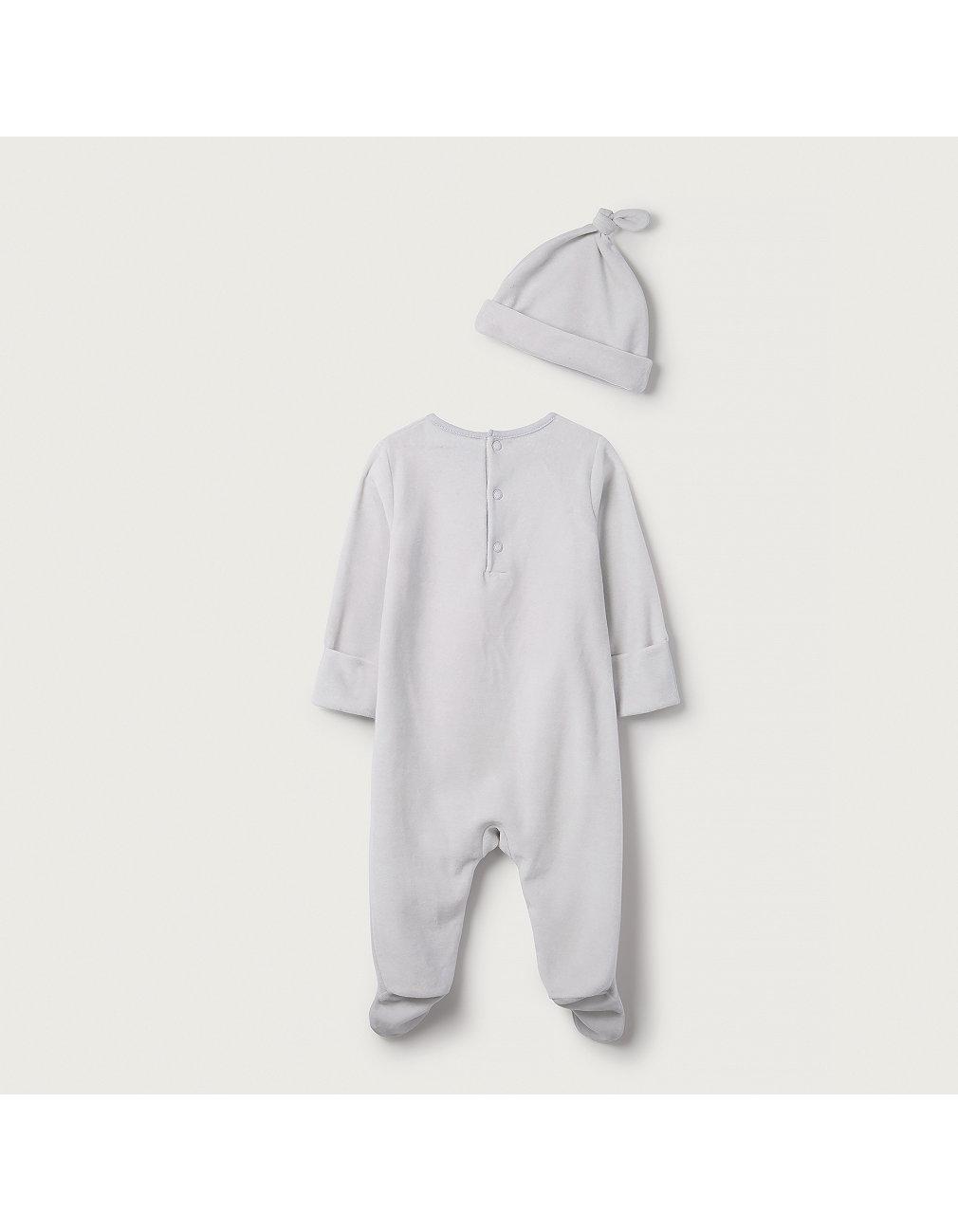 e40d9a555 Snowy Penguin Velour Sleepsuit & Hat Set