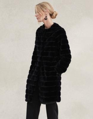 Stripe Faux Fur Coat Coats Jackets, Fur Coat White Company