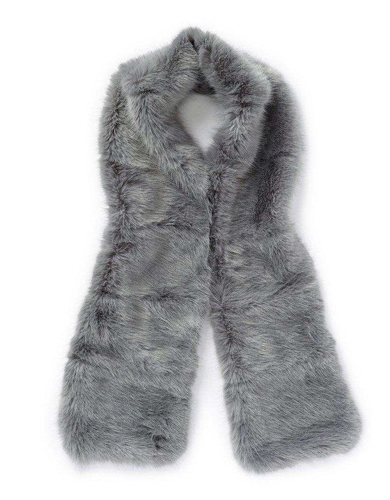 White Fur Stole >> Stripe Faux Fur Stole