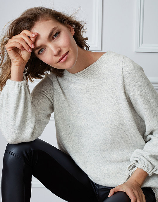 d654d7b34acf15 Tie Sleeve Jumper with Cashmere | Clothing Sale | The White Company UK