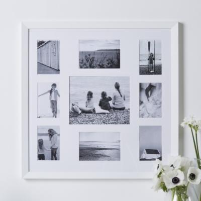 9 Aperture Fine Wood Photo Frame - White