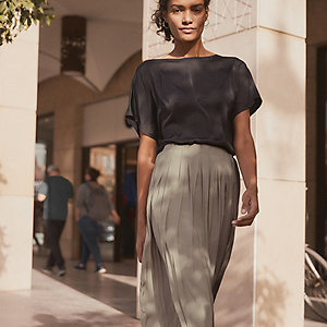 Washed Satin Pleated Skirt