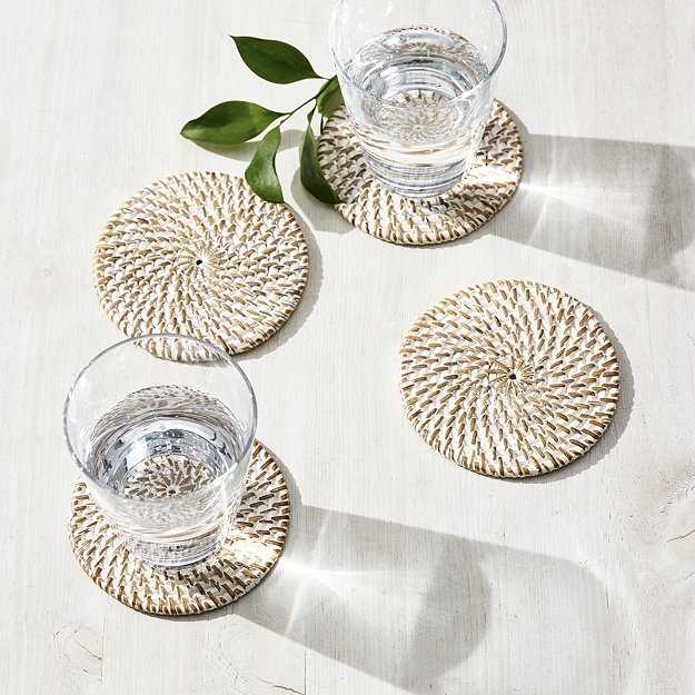 Whitewashed Rattan Coasters - Set of 4