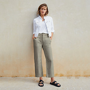 Wide-Leg Crop Utility Trousers